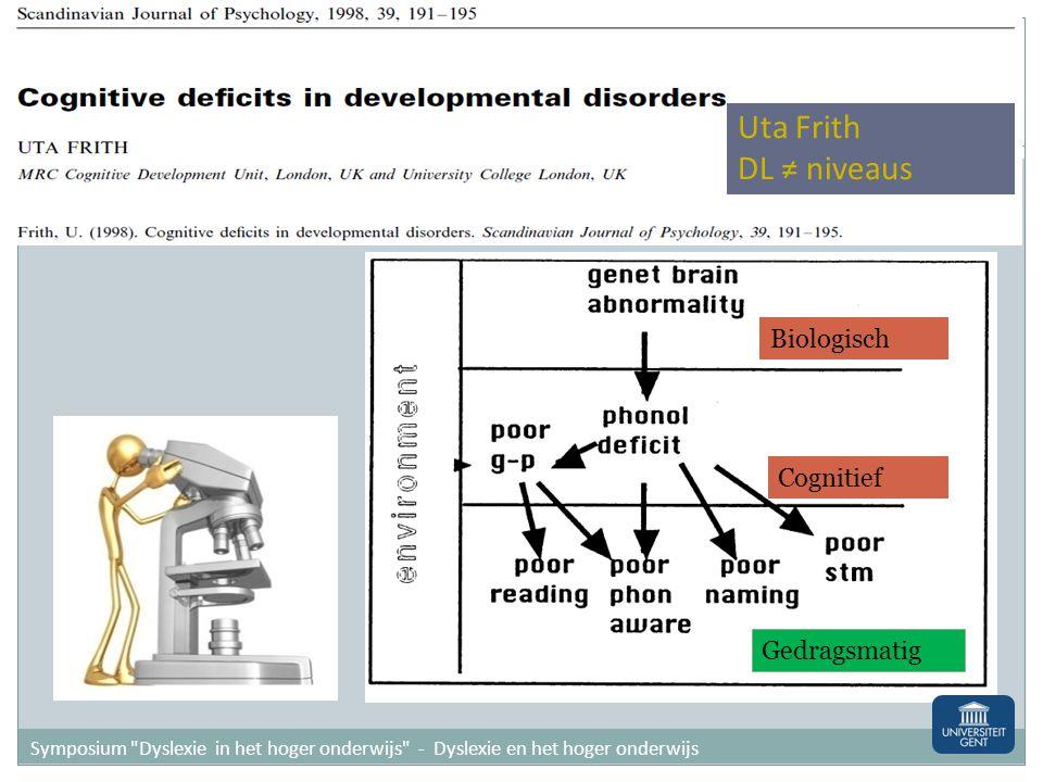Uta Frith DL ≠ niveaus Biologisch Cognitief Gedragsmatig