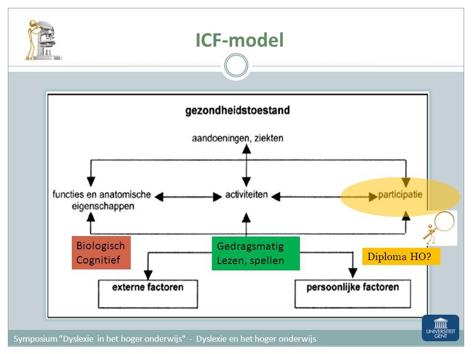 ICF-model Biologisch Gedragsmatig Cognitief Lezen, spellen Diploma HO