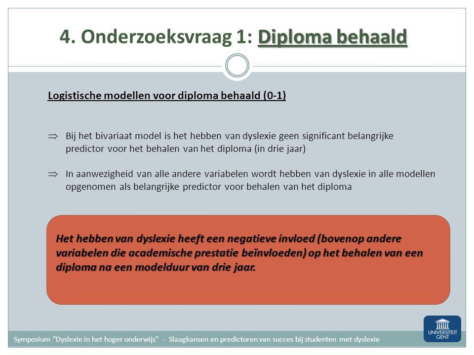 4. Onderzoeksvraag 1: Diploma behaald