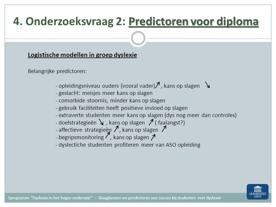 4. Onderzoeksvraag 2: Predictoren voor diploma