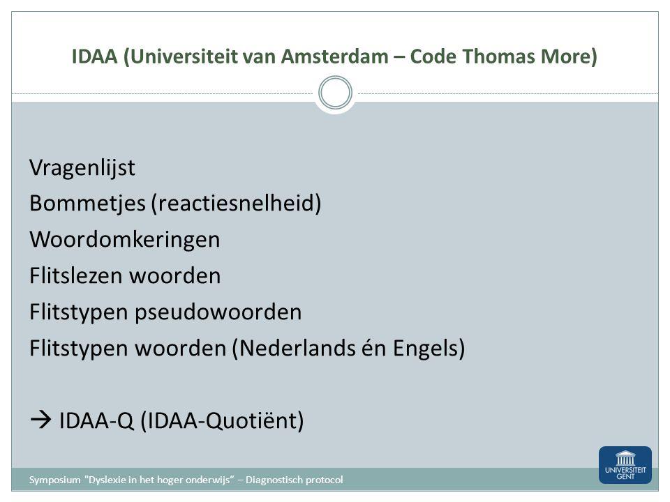 IDAA (Universiteit van Amsterdam – Code Thomas More)