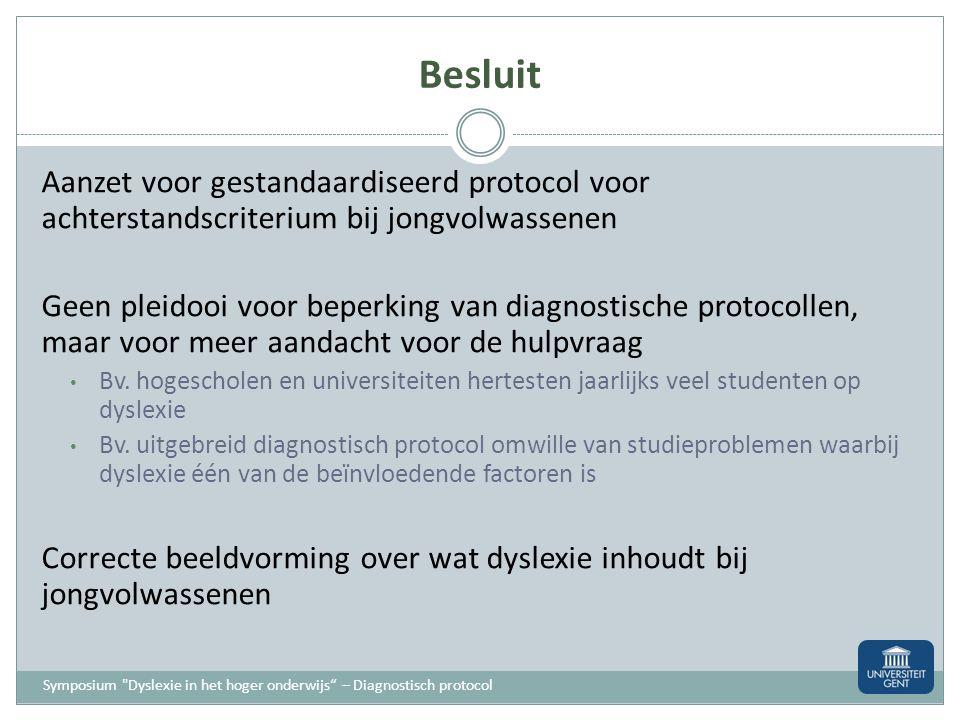 Besluit Aanzet voor gestandaardiseerd protocol voor achterstandscriterium bij jongvolwassenen.