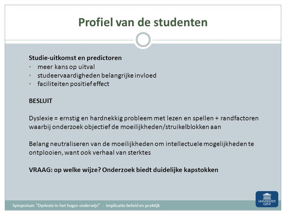 Profiel van de studenten