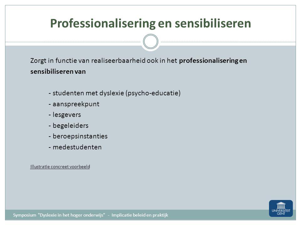 Professionalisering en sensibiliseren