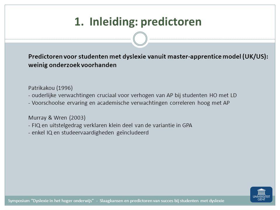 1. Inleiding: predictoren