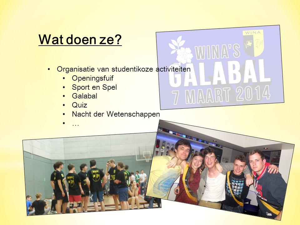 Wat doen ze Organisatie van studentikoze activiteiten Openingsfuif