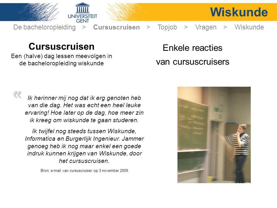 Wiskunde Cursuscruisen Enkele reacties van cursuscruisers