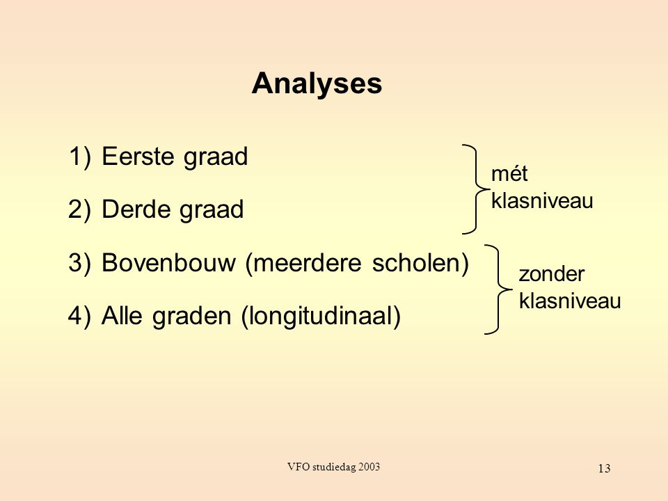 Analyses Eerste graad Derde graad Bovenbouw (meerdere scholen)