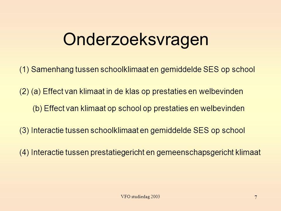 Onderzoeksvragen (1) Samenhang tussen schoolklimaat en gemiddelde SES op school. (2) (a) Effect van klimaat in de klas op prestaties en welbevinden.