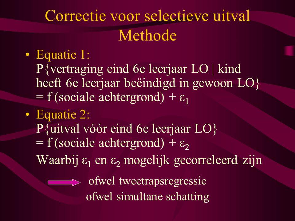 Correctie voor selectieve uitval Methode