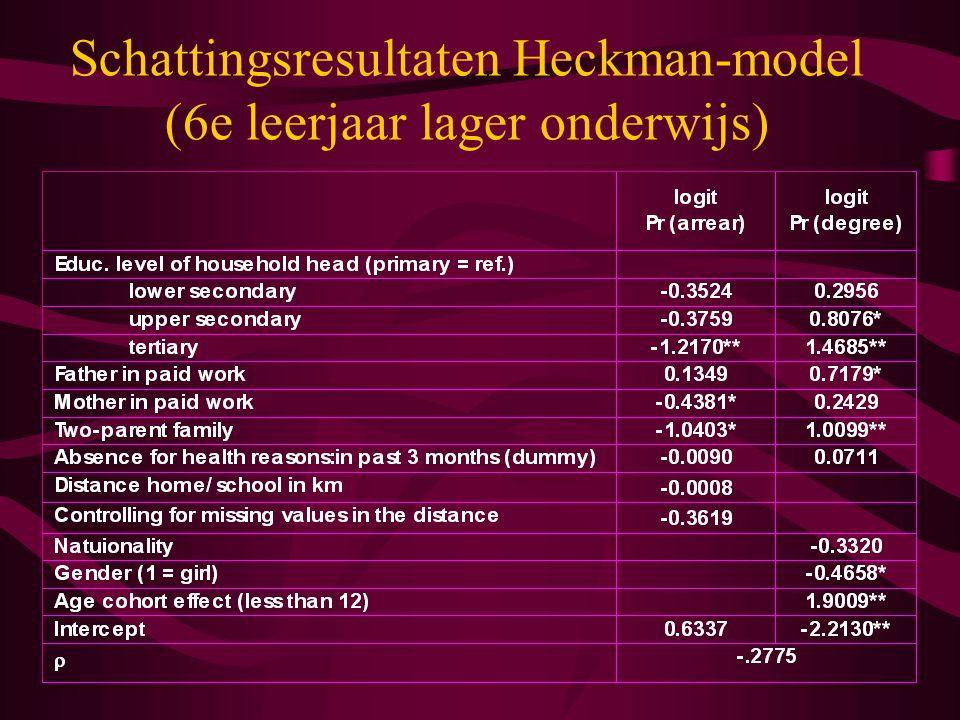 Schattingsresultaten Heckman-model (6e leerjaar lager onderwijs)