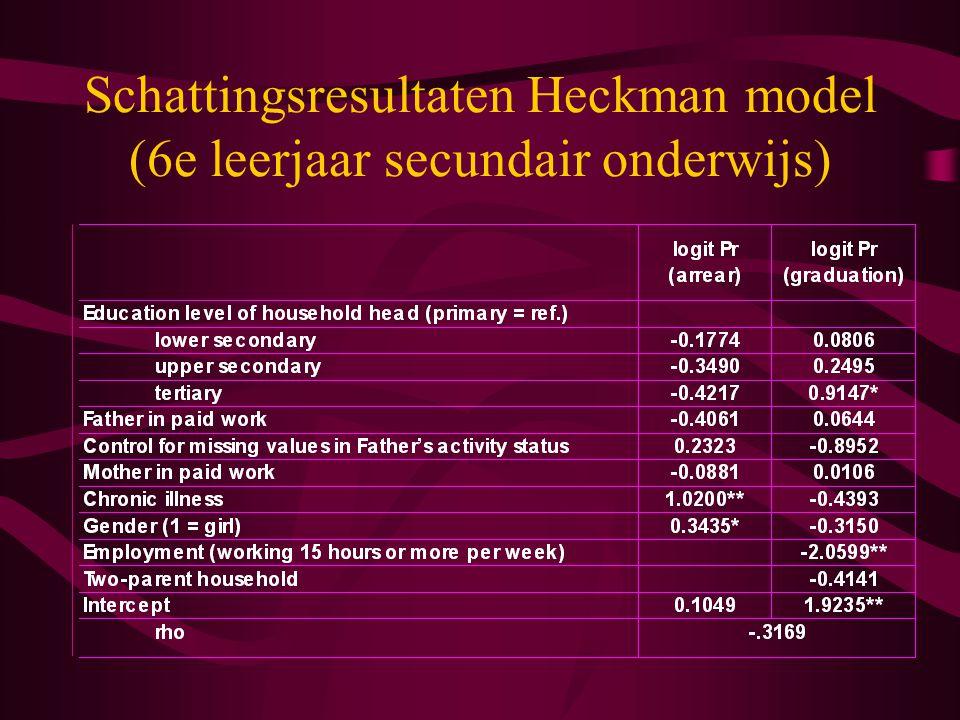 Schattingsresultaten Heckman model (6e leerjaar secundair onderwijs)