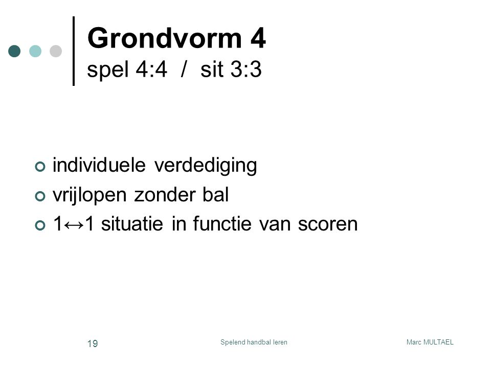 Grondvorm 4 spel 4:4 / sit 3:3 individuele verdediging
