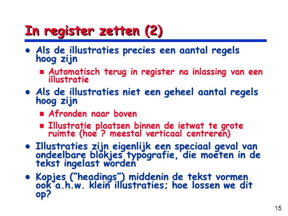 In register zetten (2) Als de illustraties precies een aantal regels hoog zijn. Automatisch terug in register na inlassing van een illustratie.