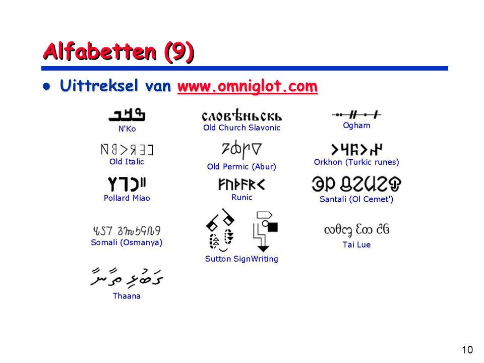 Alfabetten (9) Uittreksel van www.omniglot.com