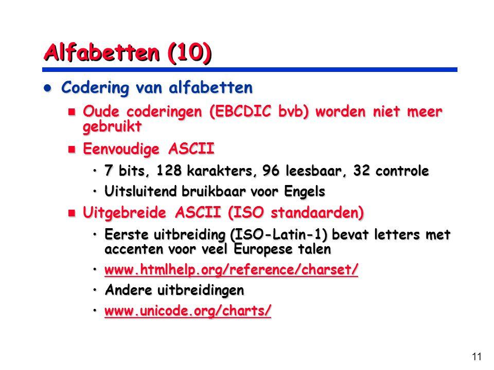 Alfabetten (10) Codering van alfabetten