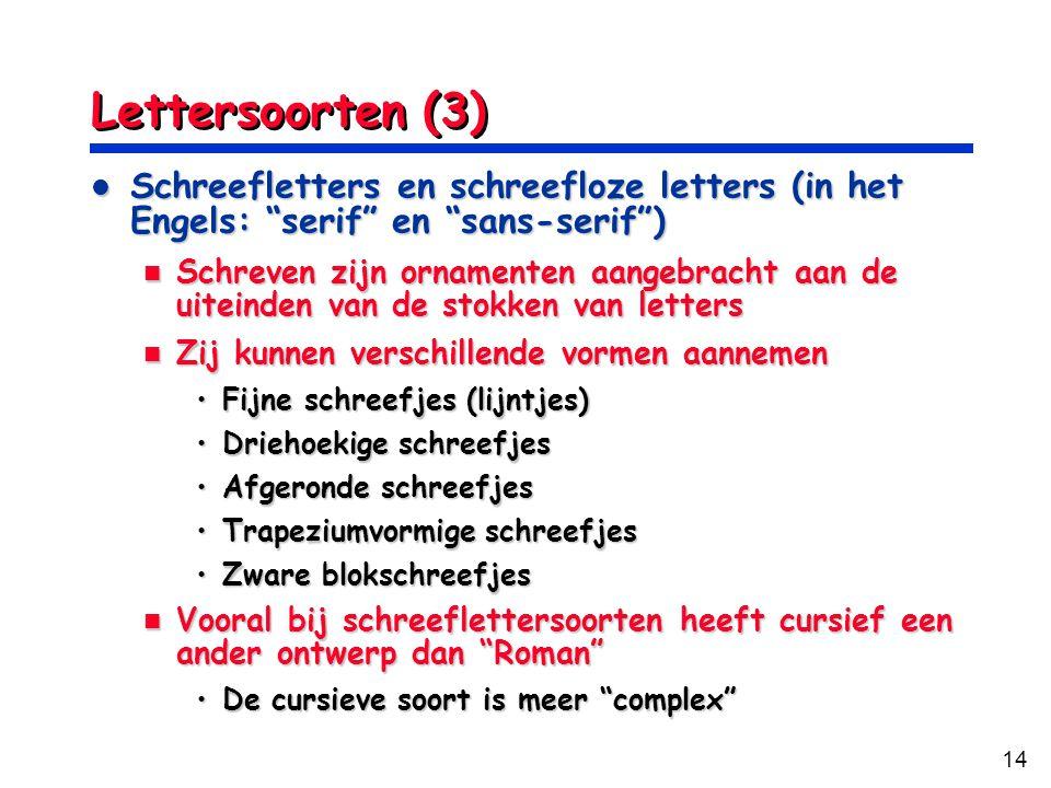 Lettersoorten (3) Schreefletters en schreefloze letters (in het Engels: serif en sans-serif )