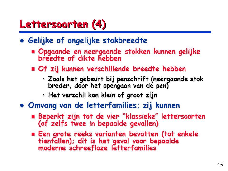 Lettersoorten (4) Gelijke of ongelijke stokbreedte