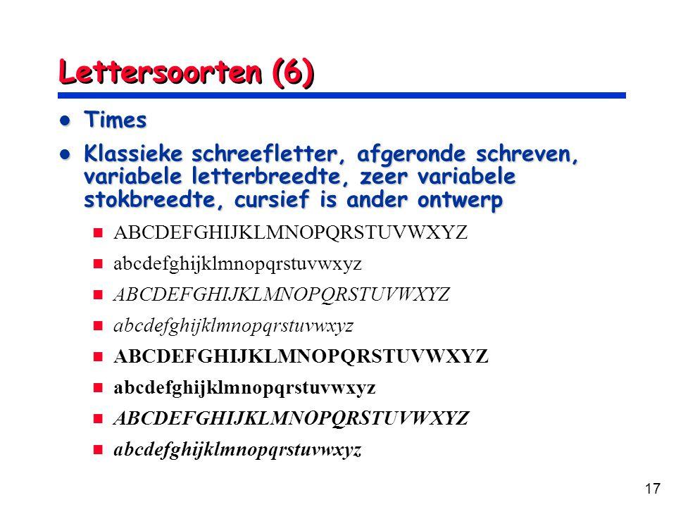 Lettersoorten (6) Times