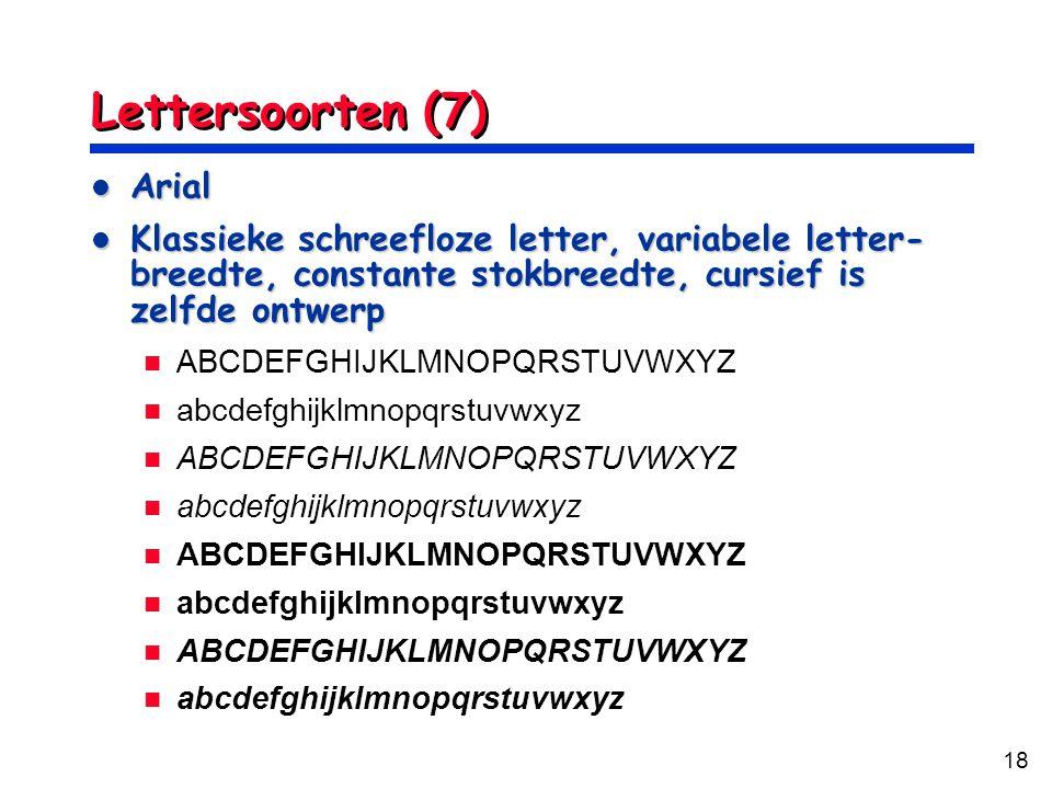 Lettersoorten (7) Arial
