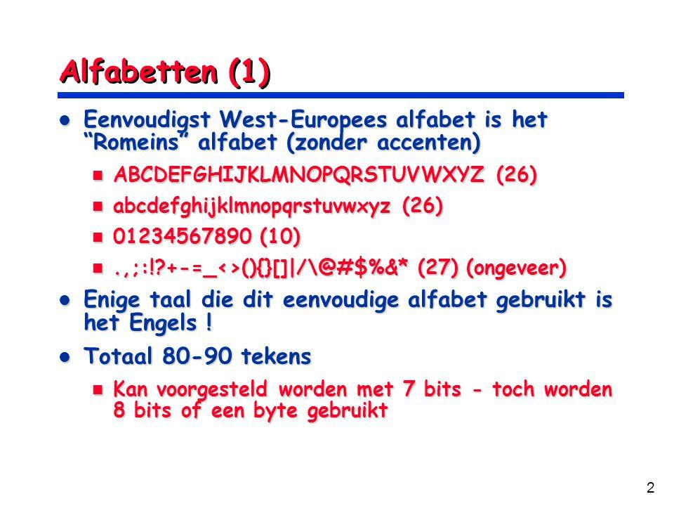 Alfabetten (1) Eenvoudigst West-Europees alfabet is het Romeins alfabet (zonder accenten) ABCDEFGHIJKLMNOPQRSTUVWXYZ (26)