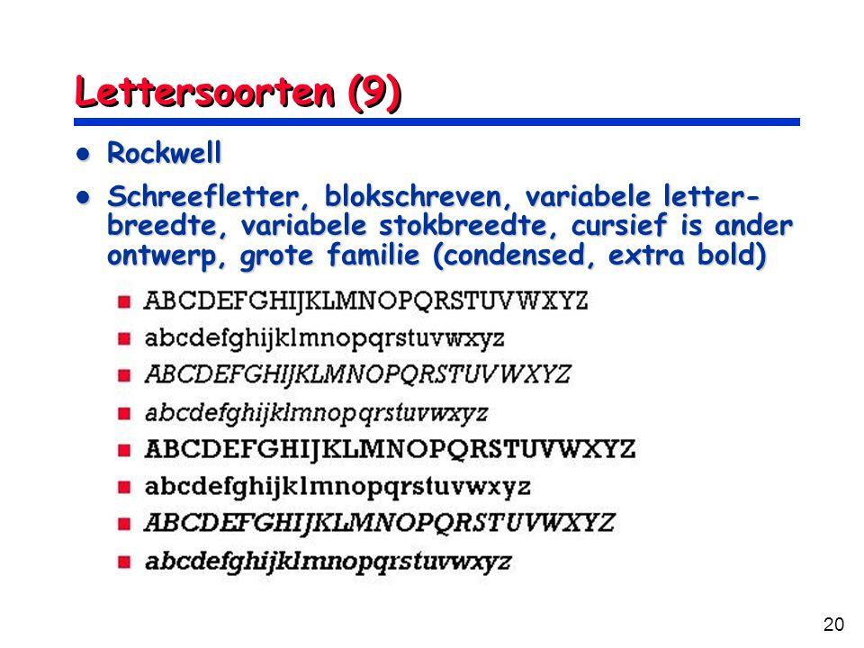 Lettersoorten (9) Rockwell
