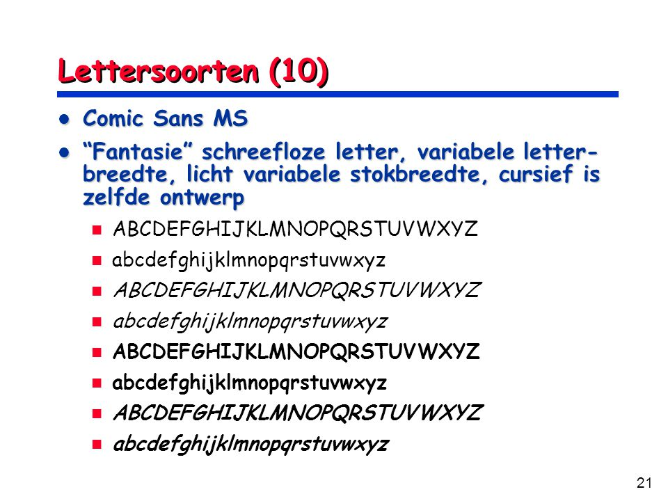 Lettersoorten (10) Comic Sans MS