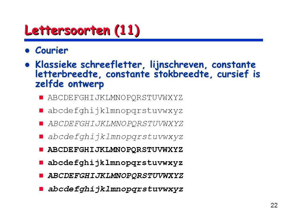 Lettersoorten (11) Courier