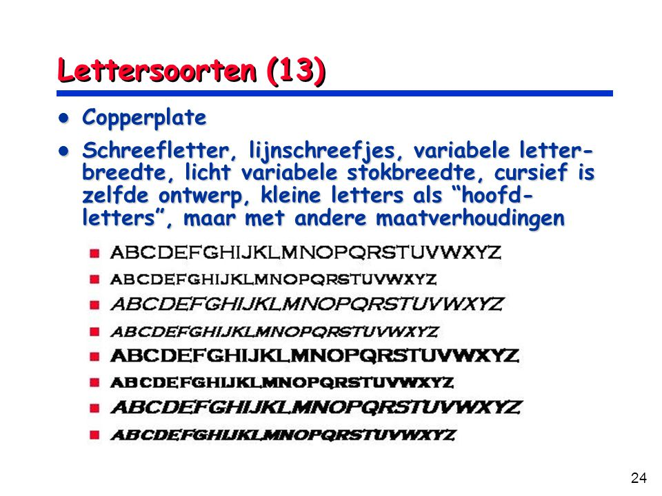 Lettersoorten (13) Copperplate