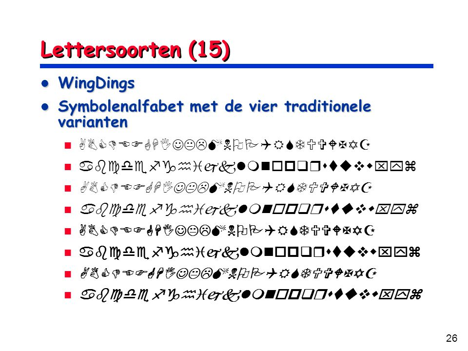 Lettersoorten (15) WingDings