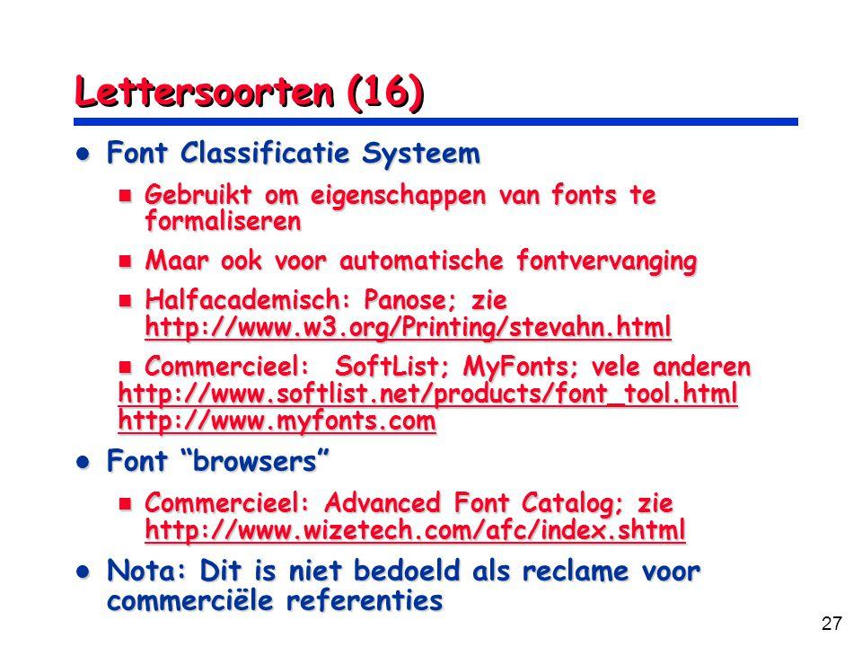 Lettersoorten (16) Font Classificatie Systeem Font browsers