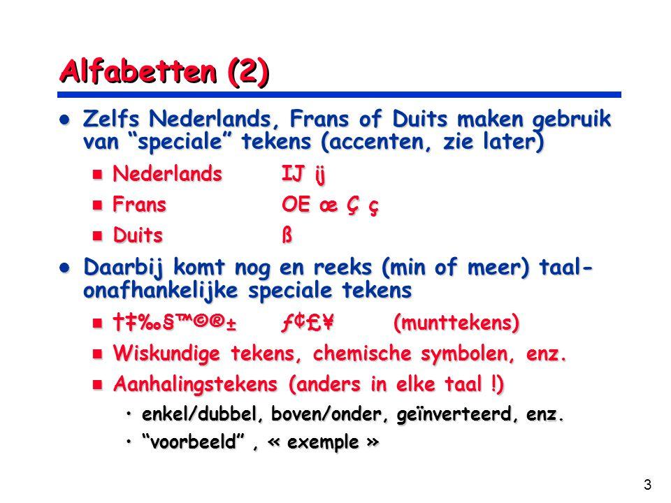 Alfabetten (2) Zelfs Nederlands, Frans of Duits maken gebruik van speciale tekens (accenten, zie later)