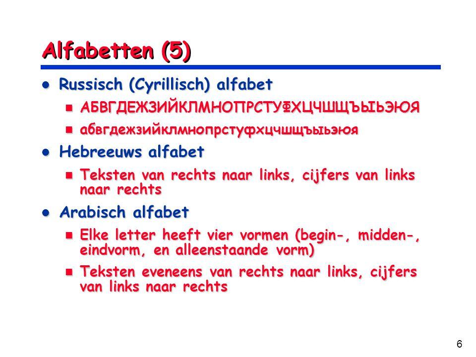Alfabetten (5) Russisch (Cyrillisch) alfabet Hebreeuws alfabet