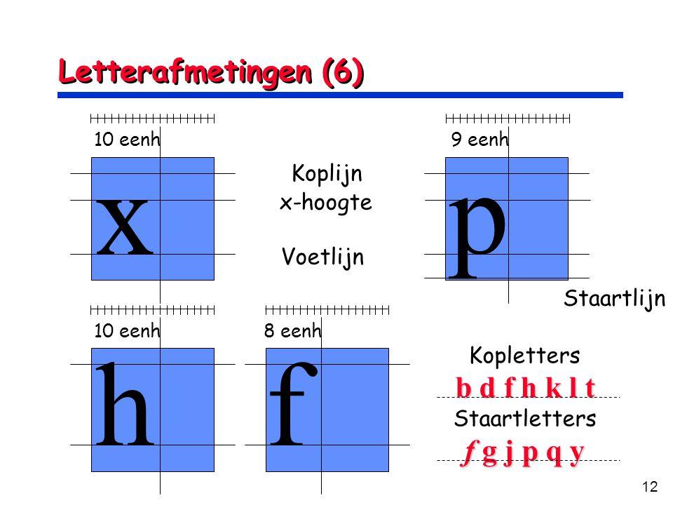 x p h f Letterafmetingen (6) b d f h k l t f g j p q y Koplijn