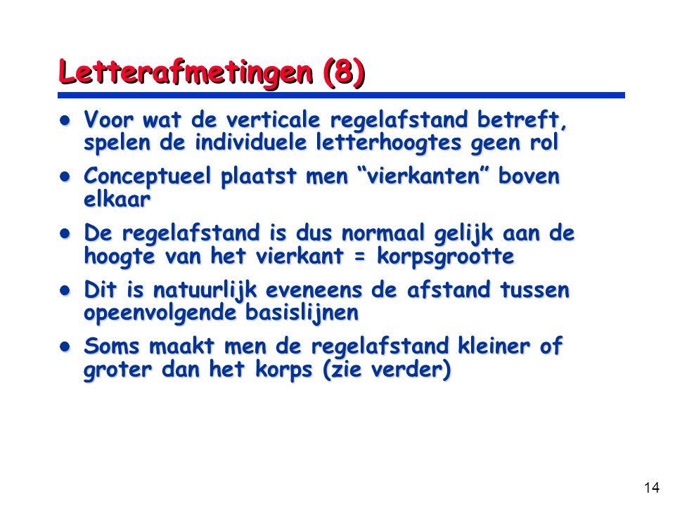 Letterafmetingen (8) Voor wat de verticale regelafstand betreft, spelen de individuele letterhoogtes geen rol.