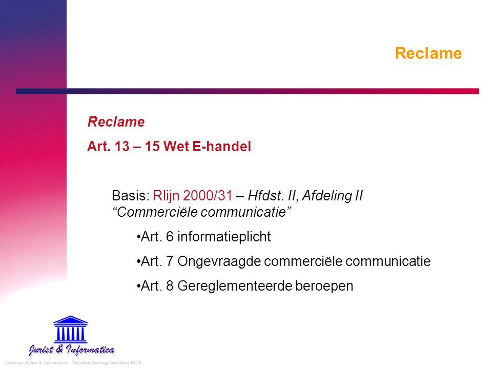 Reclame Reclame Art. 13 – 15 Wet E-handel