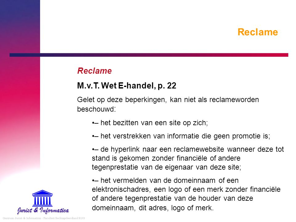 Reclame Reclame M.v.T. Wet E-handel, p. 22