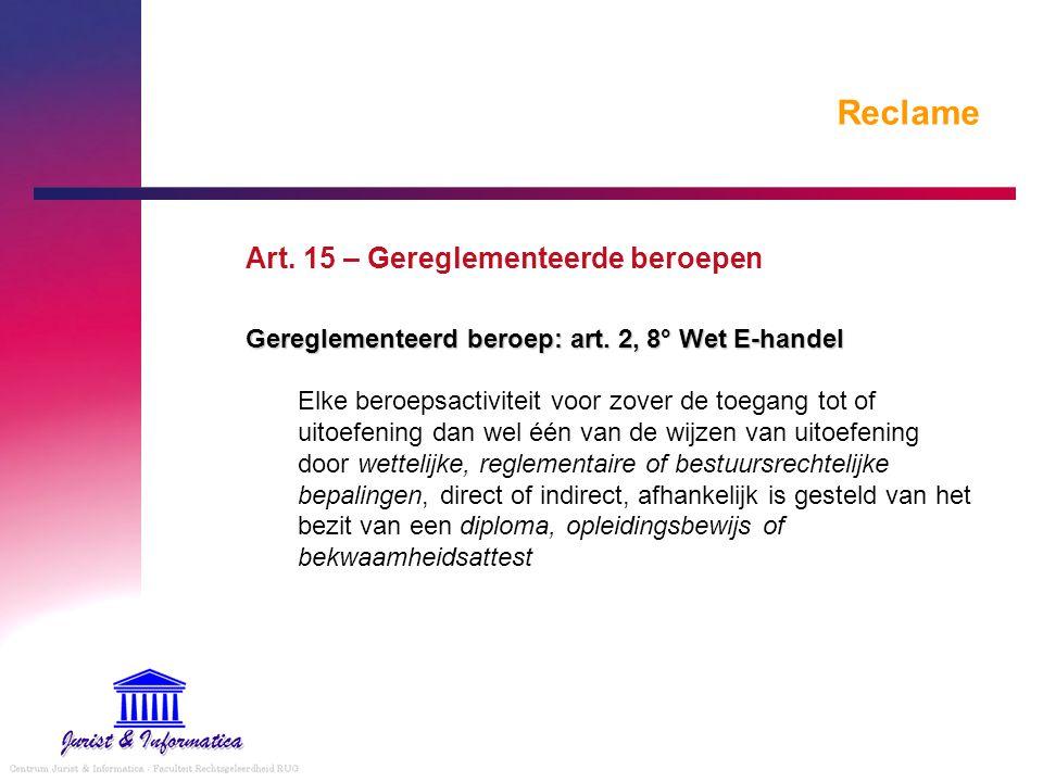 Reclame Art. 15 – Gereglementeerde beroepen