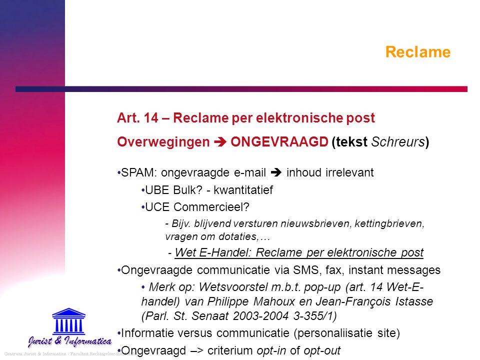 Reclame Art. 14 – Reclame per elektronische post