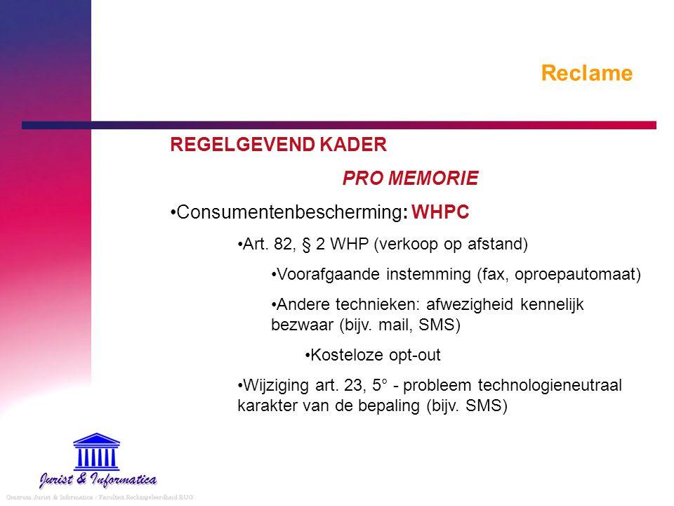 Reclame REGELGEVEND KADER PRO MEMORIE Consumentenbescherming: WHPC