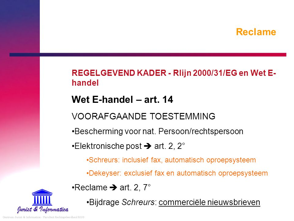 Reclame Wet E-handel – art. 14 VOORAFGAANDE TOESTEMMING