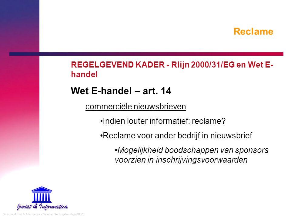 Reclame Wet E-handel – art. 14