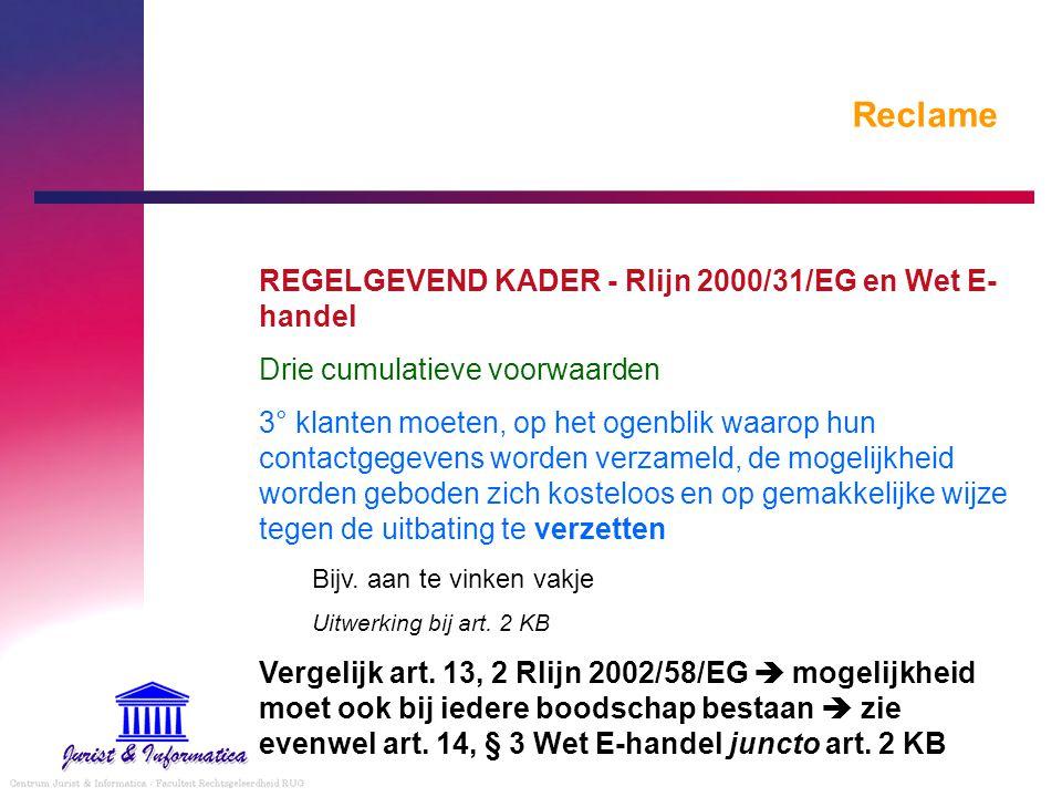 Reclame REGELGEVEND KADER - Rlijn 2000/31/EG en Wet E-handel