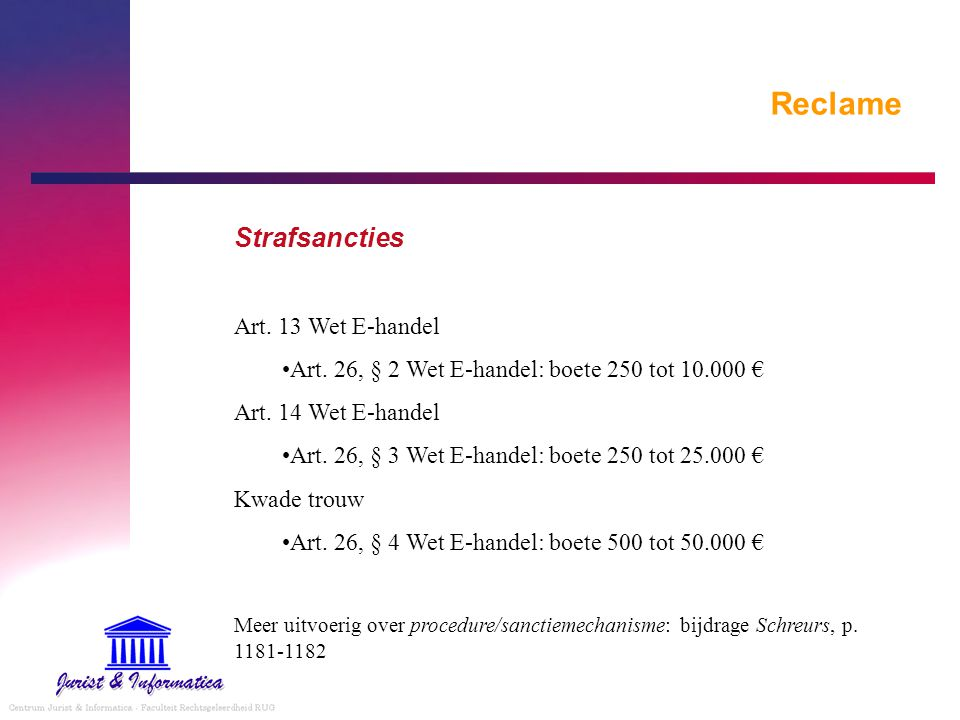 Reclame Strafsancties Art. 13 Wet E-handel