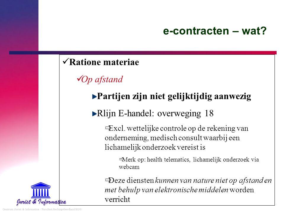 e-contracten – wat Ratione materiae Op afstand