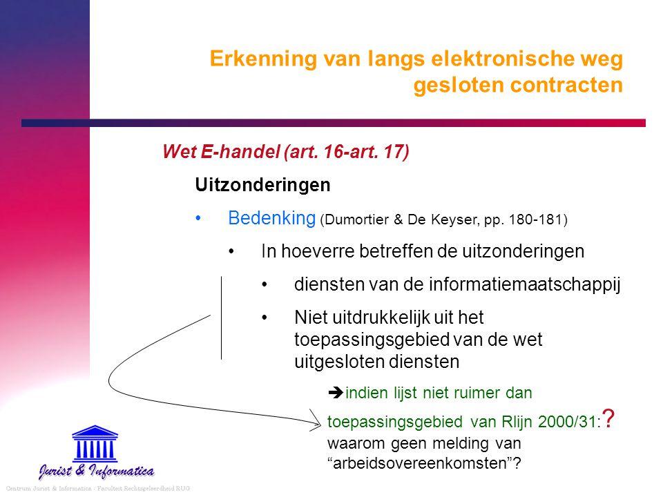 Erkenning van langs elektronische weg gesloten contracten