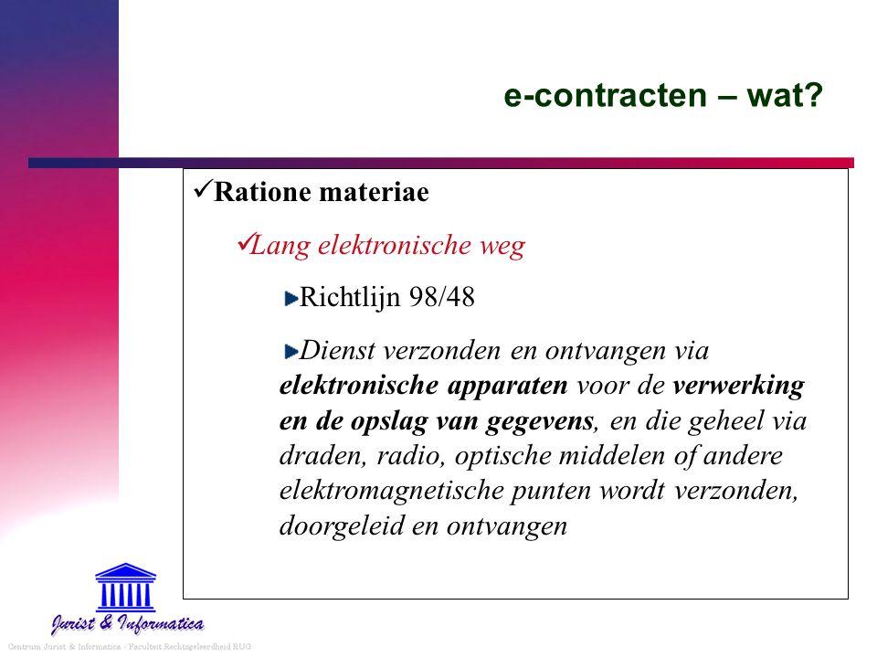 e-contracten – wat Ratione materiae Lang elektronische weg