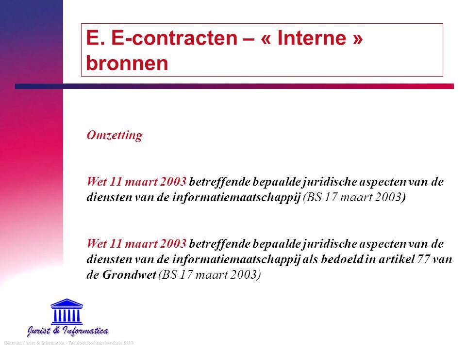 E. E-contracten – « Interne » bronnen