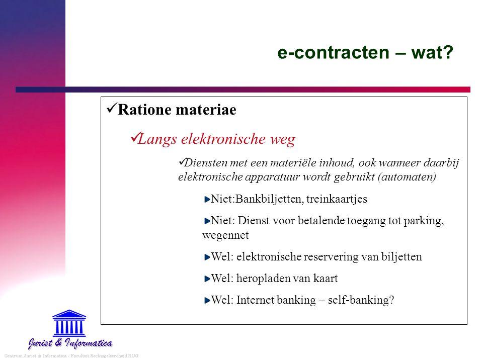 e-contracten – wat Ratione materiae Langs elektronische weg
