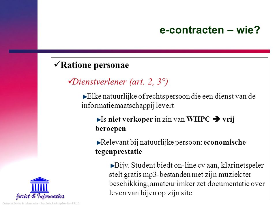 e-contracten – wie Ratione personae Dienstverlener (art. 2, 3°)